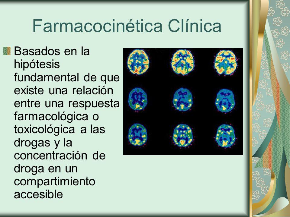 Farmacocinética Clínica Basados en la hipótesis fundamental de que existe una relación entre una respuesta farmacológica o toxicológica a las drogas y la concentración de droga en un compartimiento accesible