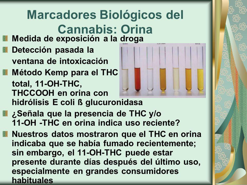 Marcadores Biológicos del Cannabis: Orina Medida de exposición a la droga Detección pasada la ventana de intoxicación Método Kemp para el THC total, 11-OH-THC, THCCOOH en orina con hidrólisis E coli ß glucuronidasa ¿Señala que la presencia de THC y/o 11-OH -THC en orina indica uso reciente.