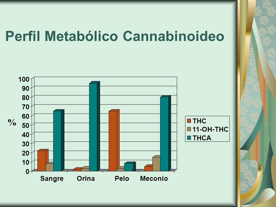 Perfil Metabólico Cannabinoideo 0 10 20 30 40 50 60 70 80 90 100 SangreOrinaPeloMeconio THC 11-OH-THC THCA %