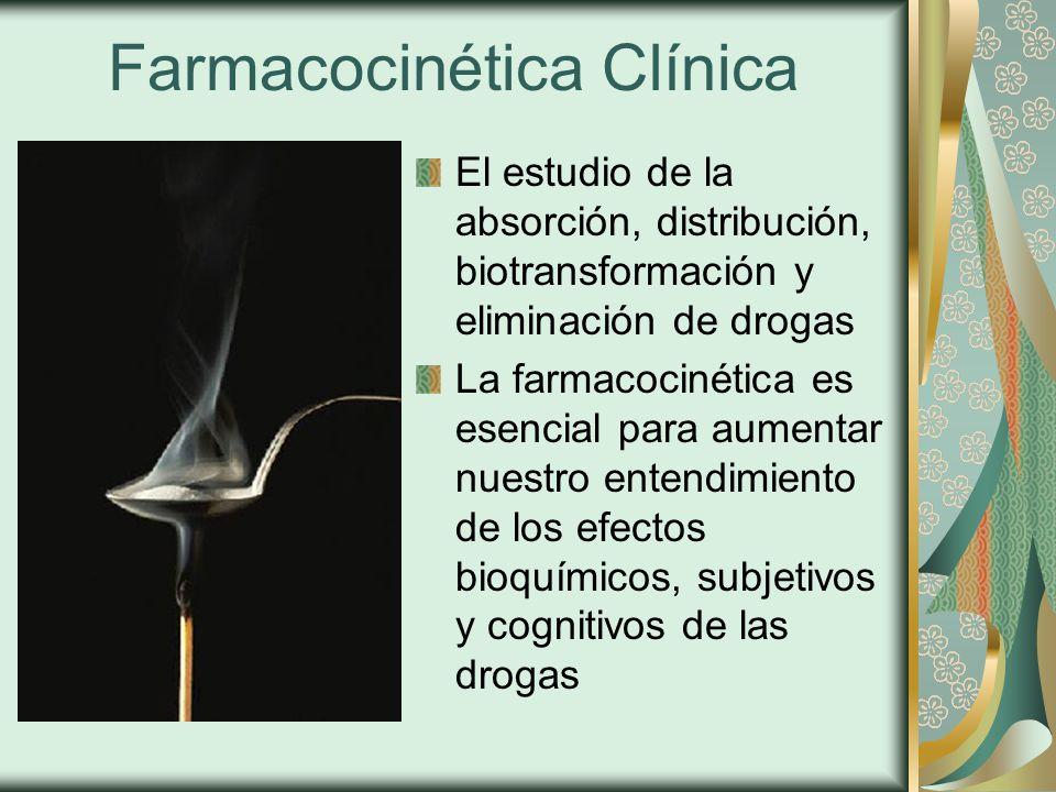 Farmacocinética Clínica El estudio de la absorción, distribución, biotransformación y eliminación de drogas La farmacocinética es esencial para aumentar nuestro entendimiento de los efectos bioquímicos, subjetivos y cognitivos de las drogas