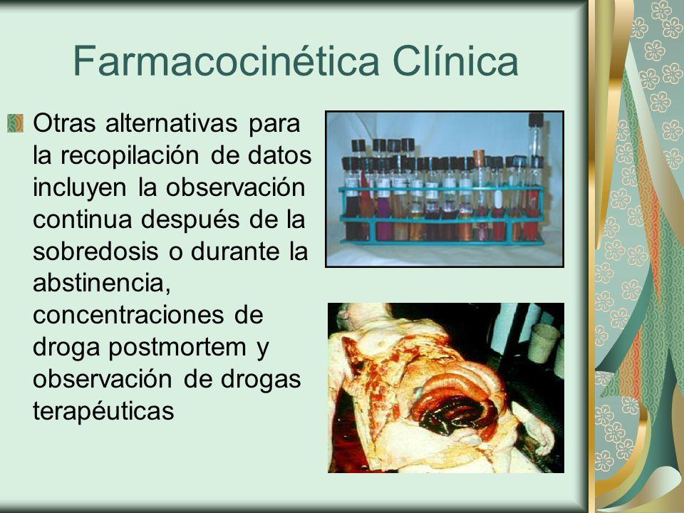 Farmacocinética Clínica Otras alternativas para la recopilación de datos incluyen la observación continua después de la sobredosis o durante la abstinencia, concentraciones de droga postmortem y observación de drogas terapéuticas
