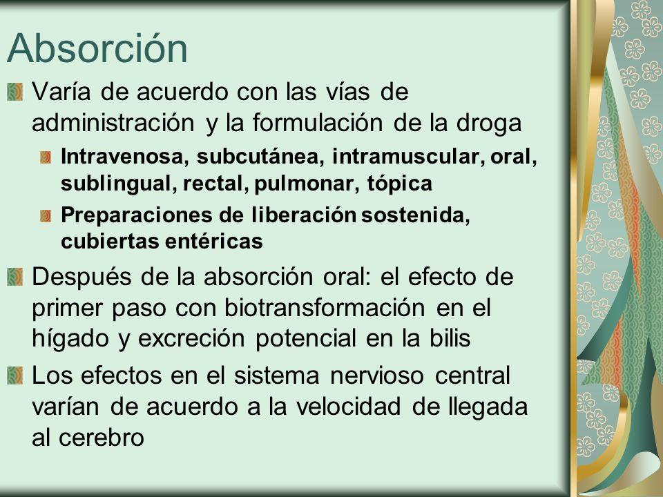 Absorción Varía de acuerdo con las vías de administración y la formulación de la droga Intravenosa, subcutánea, intramuscular, oral, sublingual, rectal, pulmonar, tópica Preparaciones de liberación sostenida, cubiertas entéricas Después de la absorción oral: el efecto de primer paso con biotransformación en el hígado y excreción potencial en la bilis Los efectos en el sistema nervioso central varían de acuerdo a la velocidad de llegada al cerebro