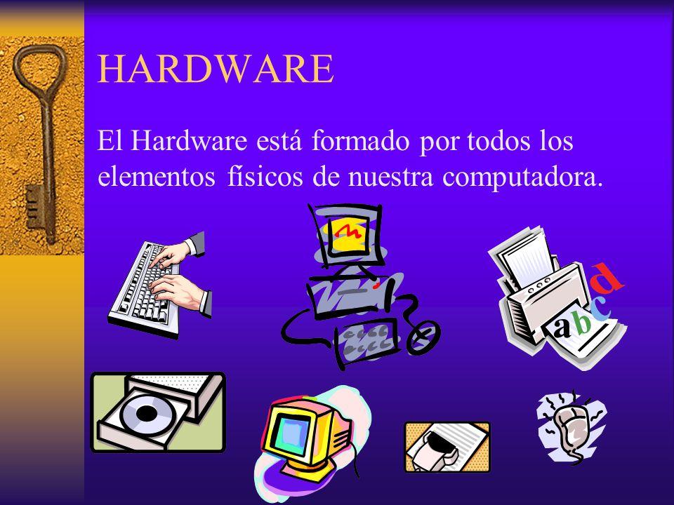 HARDWARE El Hardware está formado por todos los elementos físicos de nuestra computadora.
