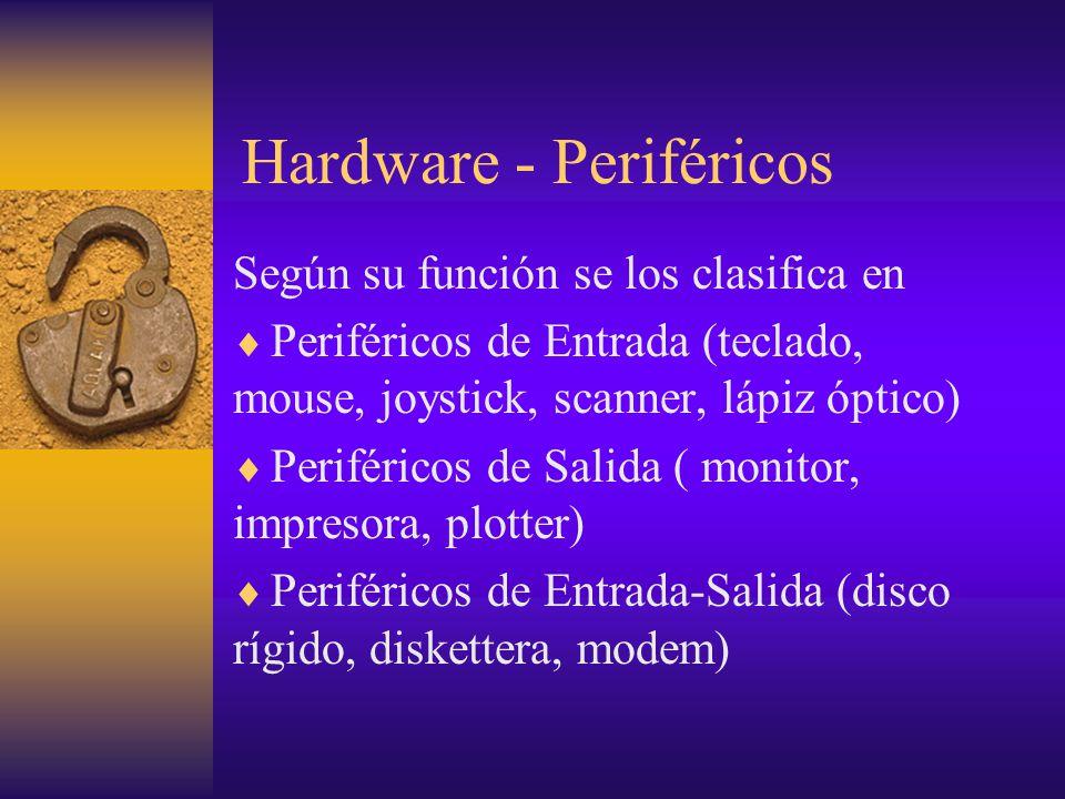 Hardware - Periféricos Según su función se los clasifica en Periféricos de Entrada (teclado, mouse, joystick, scanner, lápiz óptico) Periféricos de Sa