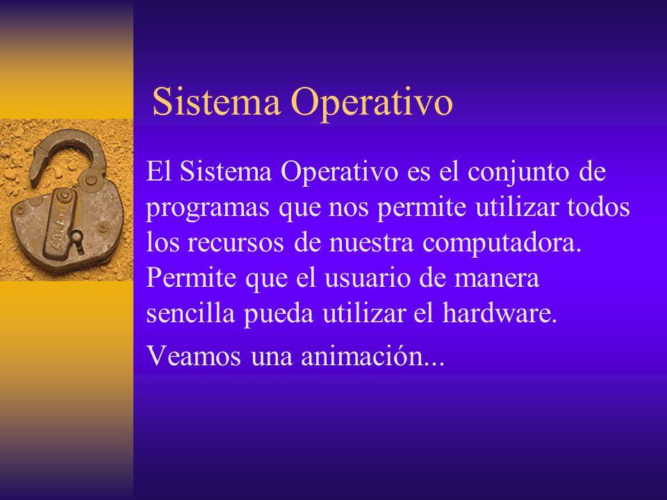 Sistema Operativo El Sistema Operativo es el conjunto de programas que nos permite utilizar todos los recursos de nuestra computadora. Permite que el