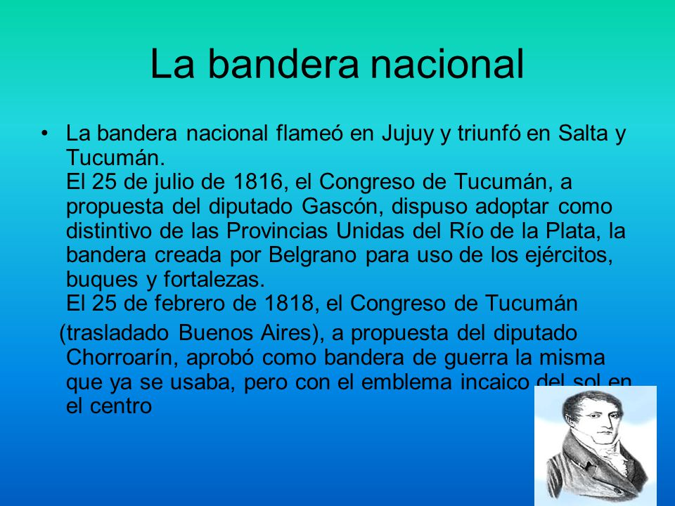 Creación de la bandera El 27 de febrero de 1812, el general Manuel Belgrano, al inaugurar en Rosario las baterías