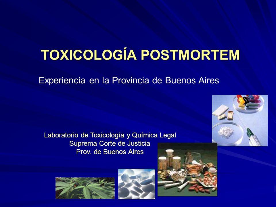 TOXICOLOGÍA POSTMORTEM Experiencia en la Provincia de Buenos Aires Laboratorio de Toxicología y Química Legal Suprema Corte de Justicia Prov. de Bueno