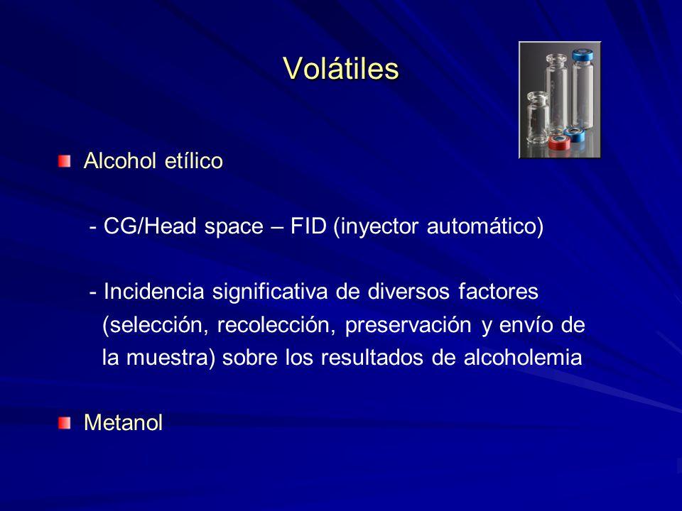 Volátiles Alcohol etílico - CG/Head space – FID (inyector automático) - Incidencia significativa de diversos factores (selección, recolección, preserv