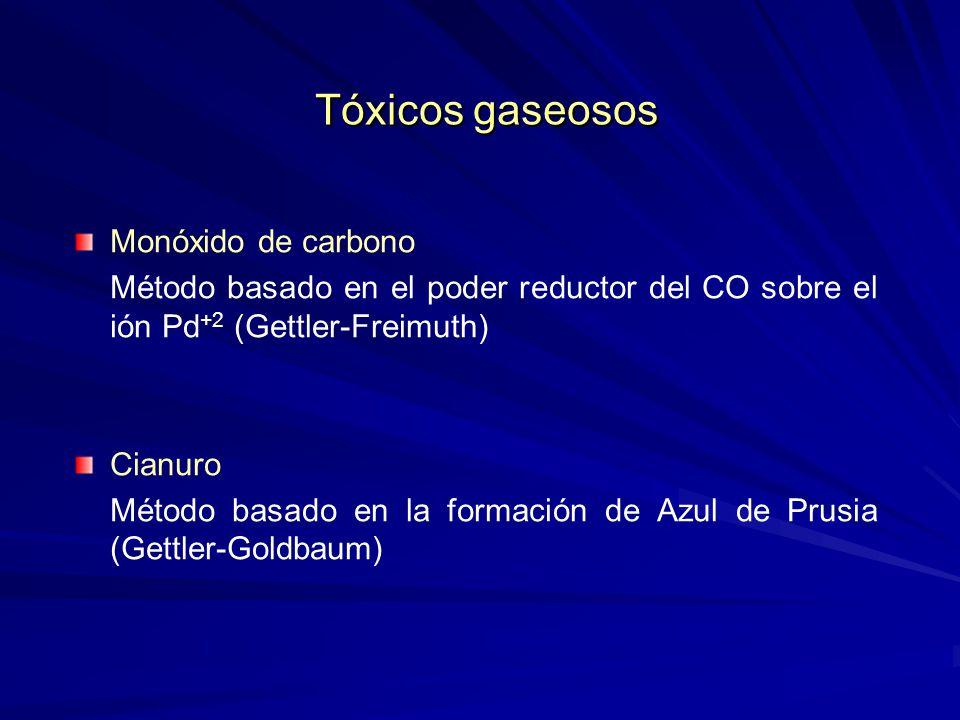 Tóxicos gaseosos Tóxicos gaseosos Monóxido de carbono Método basado en el poder reductor del CO sobre el ión Pd +2 (Gettler-Freimuth) Cianuro Método b