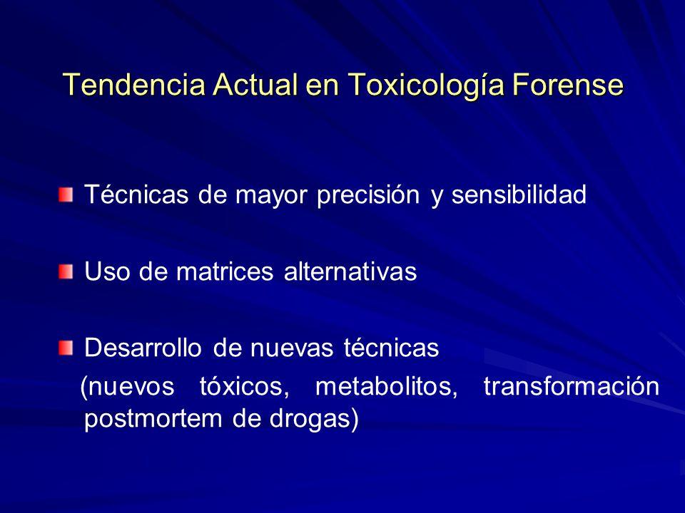 Tendencia Actual en Toxicología Forense Técnicas de mayor precisión y sensibilidad Uso de matrices alternativas Desarrollo de nuevas técnicas (nuevos