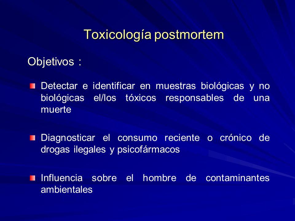 Toxicología postmortem Toxicología postmortem Detectar e identificar en muestras biológicas y no biológicas el/los tóxicos responsables de una muerte