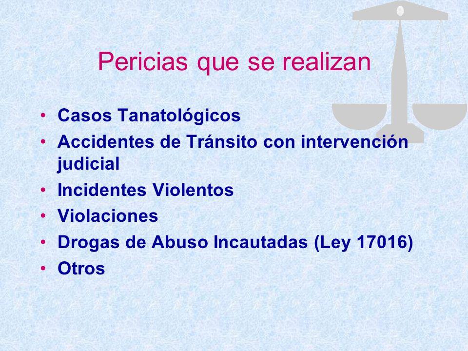Pericias que se realizan Casos Tanatológicos Accidentes de Tránsito con intervención judicial Incidentes Violentos Violaciones Drogas de Abuso Incauta