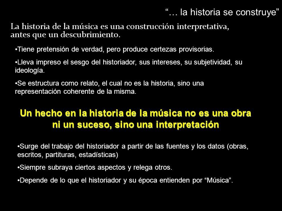 Un hecho en la historia de la música no es una obra ni un suceso, sino una interpretación La historia de la música es una construcción interpretativa,
