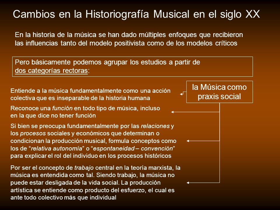 Cambios en la Historiografía Musical en el siglo XX Pero básicamente podemos agrupar los estudios a partir de dos categorías rectoras: la Música como