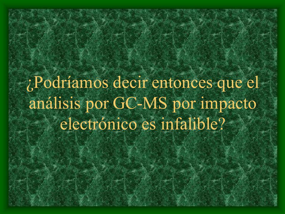 ¿Podríamos decir entonces que el análisis por GC-MS por impacto electrónico es infalible?