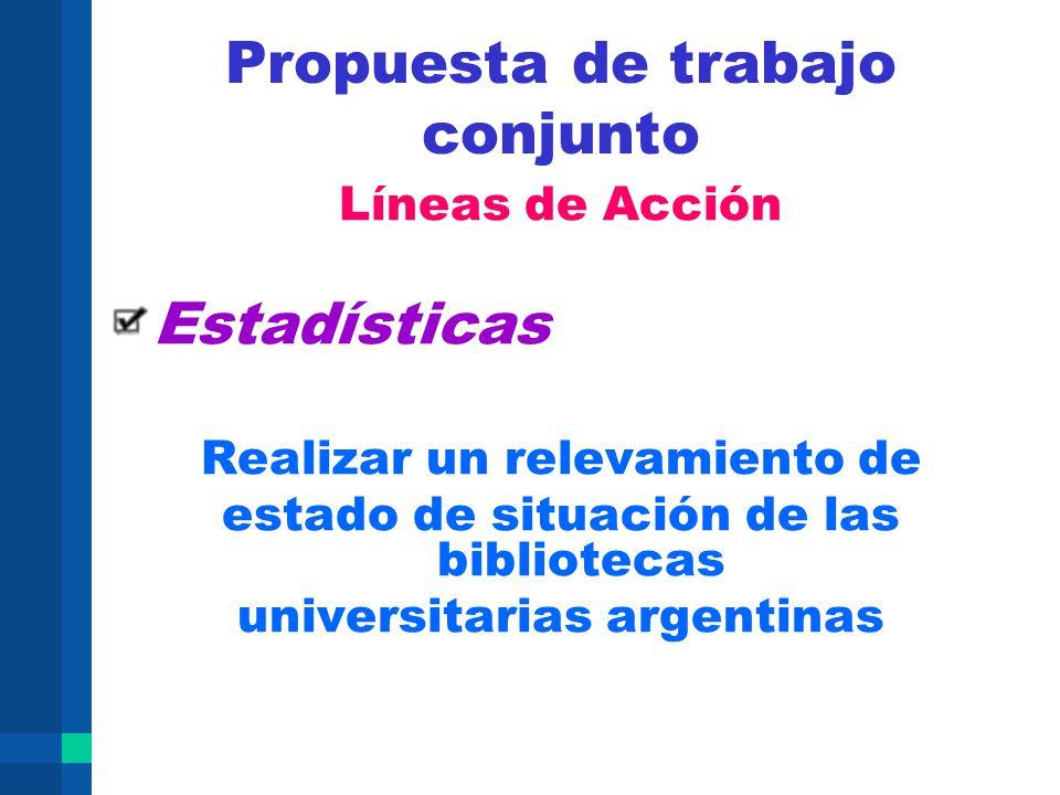 Propuesta de trabajo conjunto Líneas de Acción Estadísticas Realizar un relevamiento de estado de situación de las bibliotecas universitarias argentin