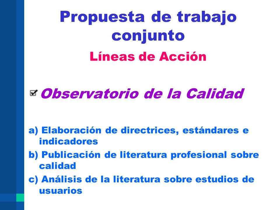 Propuesta de trabajo conjunto Líneas de Acción Observatorio de la Calidad a) Elaboración de directrices, estándares e indicadores b) Publicación de li