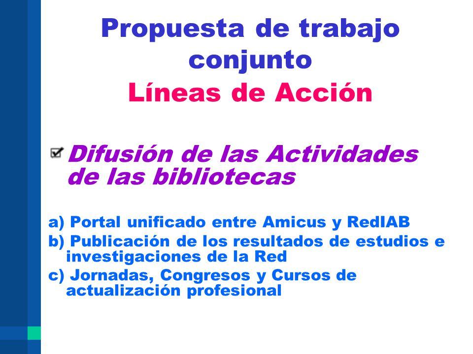 Propuesta de trabajo conjunto Líneas de Acción Difusión de las Actividades de las bibliotecas a) Portal unificado entre Amicus y RedIAB b) Publicación