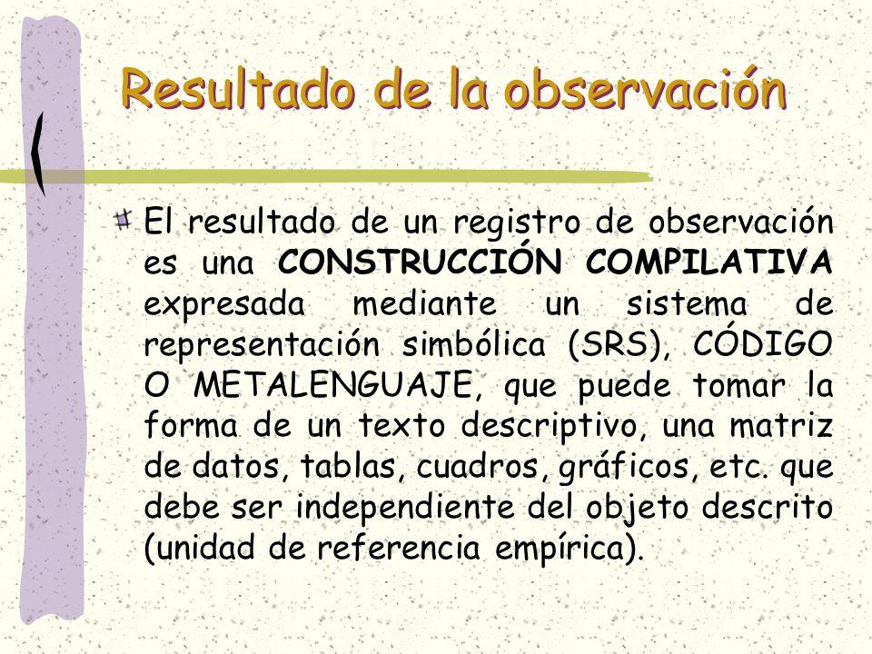 Resultado de la observación El resultado de un registro de observación es una CONSTRUCCIÓN COMPILATIVA expresada mediante un sistema de representación