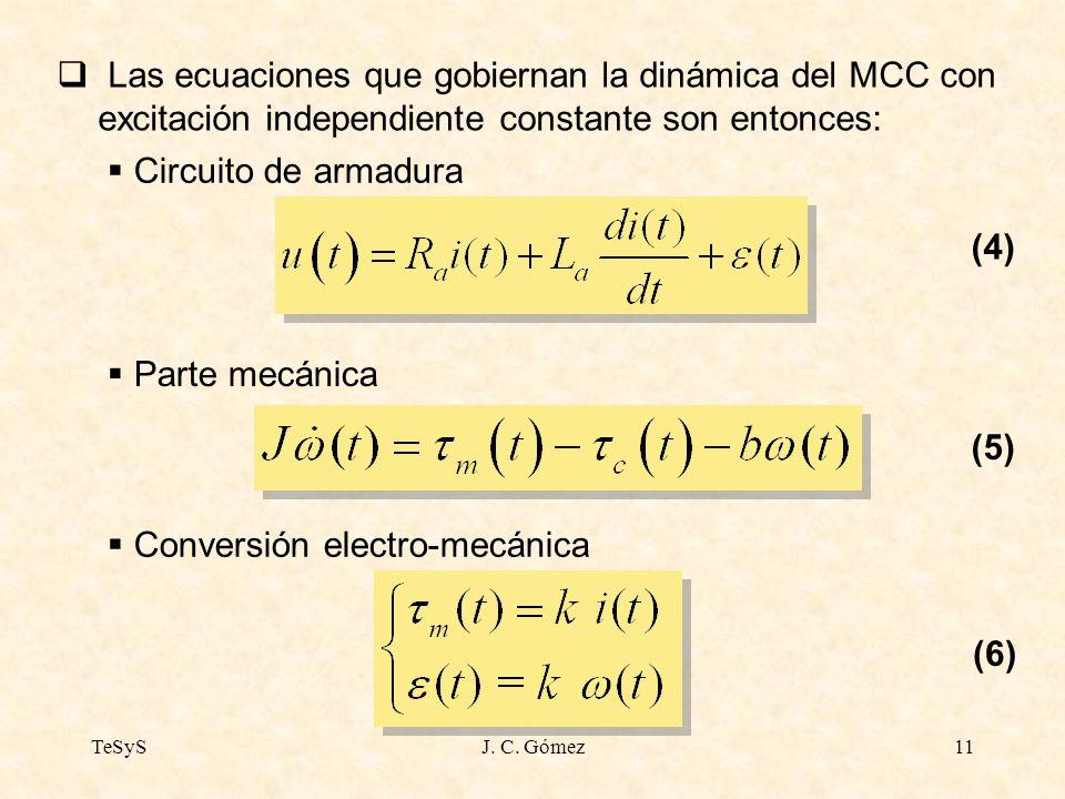 TeSySJ. C. Gómez11 Las ecuaciones que gobiernan la dinámica del MCC con excitación independiente constante son entonces: Circuito de armadura Parte me