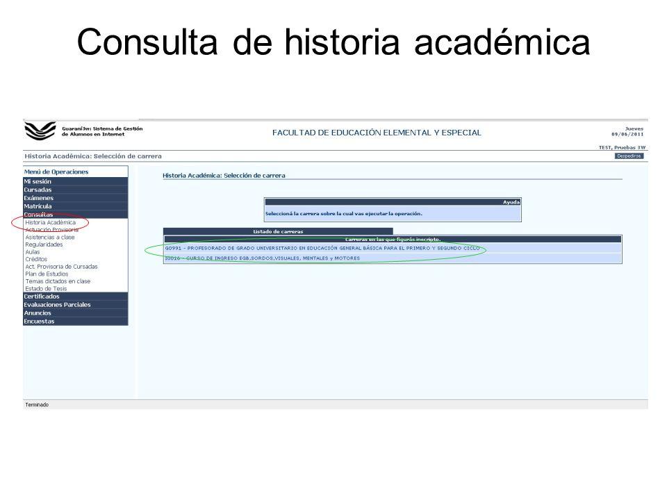 Consulta de historia académica