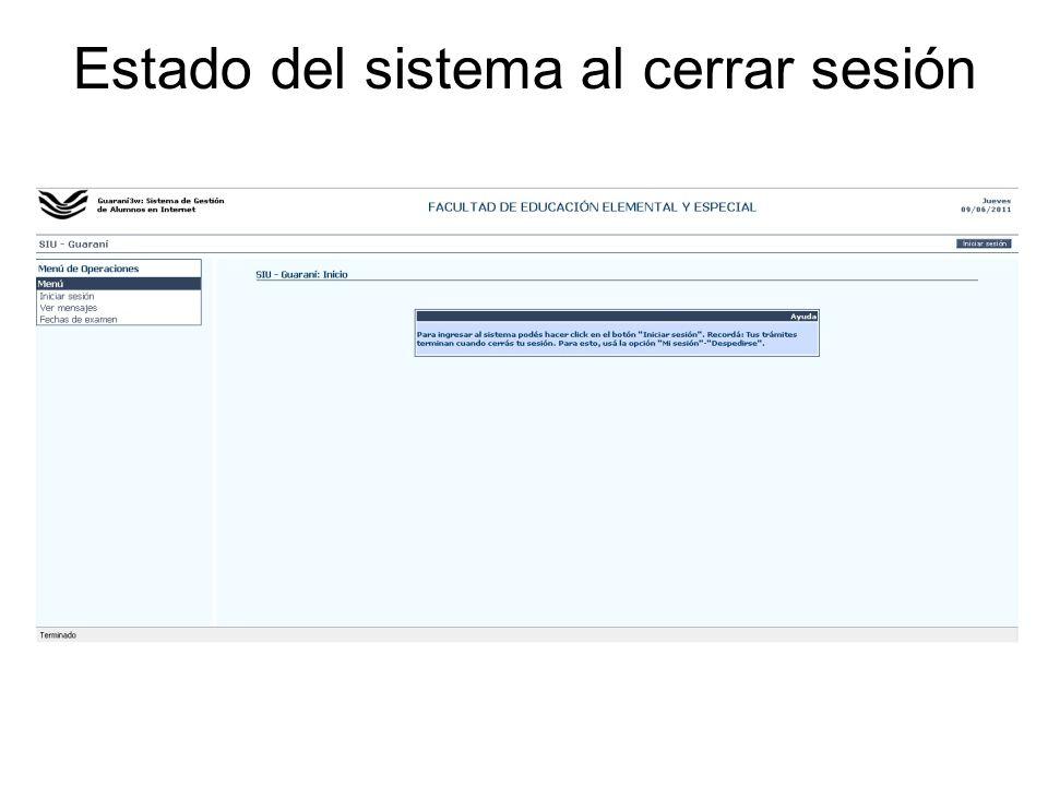 Estado del sistema al cerrar sesión