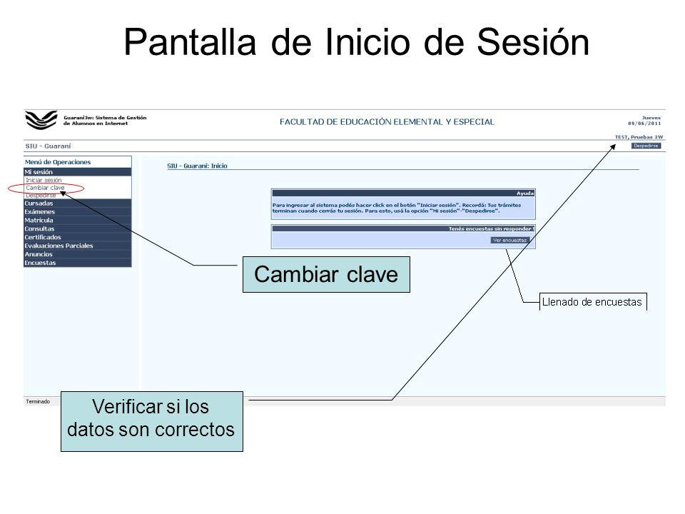 Pantalla de Inicio de Sesión Verificar si los datos son correctos Cambiar clave