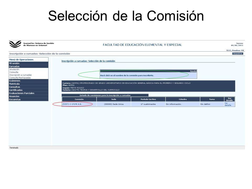 Selección de la Comisión