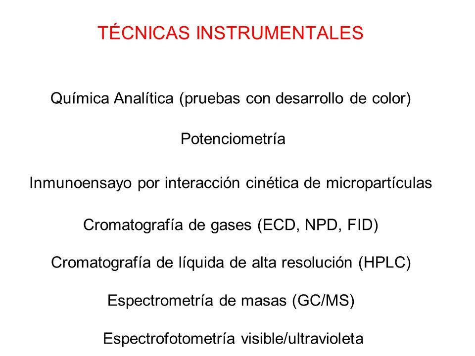 TÉCNICAS INSTRUMENTALES Química Analítica (pruebas con desarrollo de color) Potenciometría Inmunoensayo por interacción cinética de micropartículas Cr