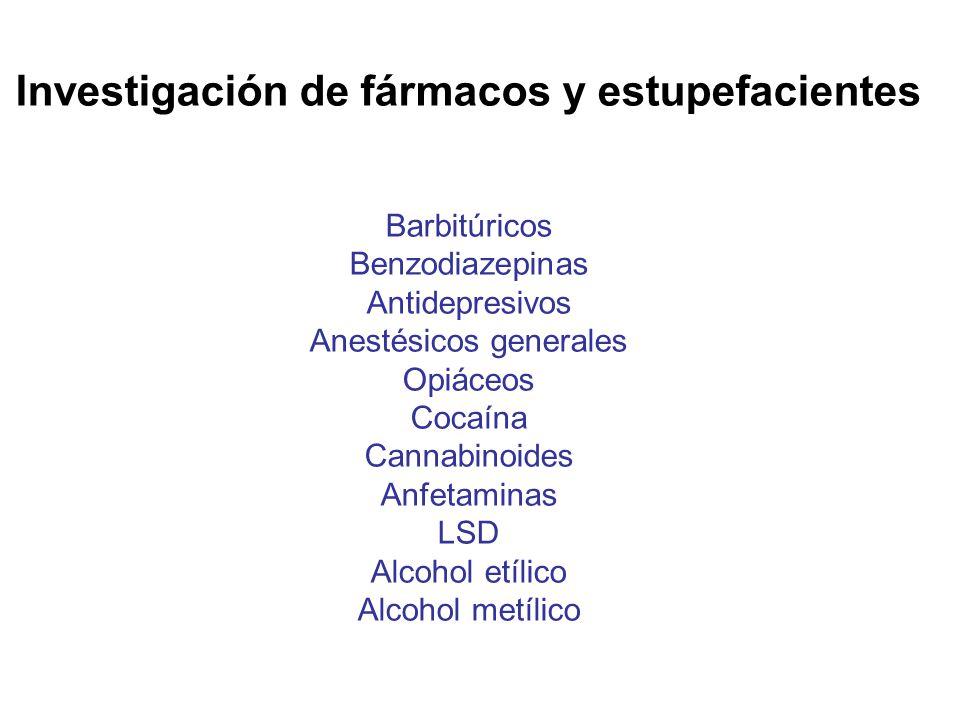 Investigación de fármacos y estupefacientes Barbitúricos Benzodiazepinas Antidepresivos Anestésicos generales Opiáceos Cocaína Cannabinoides Anfetamin