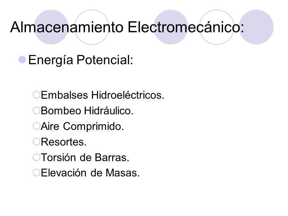 Almacenamiento Electromecánico: Energía Potencial: Embalses Hidroeléctricos. Bombeo Hidráulico. Aire Comprimido. Resortes. Torsión de Barras. Elevació