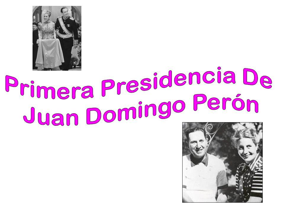 Primer gobierno (1946–1952) Desde la presidencia, Perón continuó con las políticas sociales que beneficiaron tanto a la clase trabajadora como al empresariado nacional, sobre todo industrial En 1947 anunció un Plan Quinquenal para fortalecer las nuevas industrias creadas, y comenzar con la industria pesada (siderurgia y generación de energía eléctrica en San Nicolás y en Jujuy).