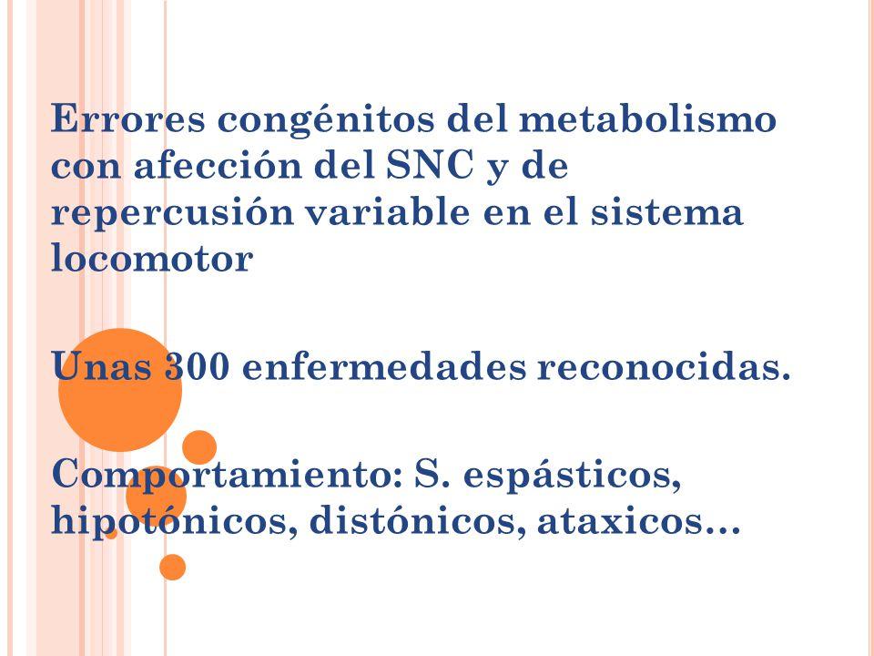 Errores congénitos del metabolismo con afección del SNC y de repercusión variable en el sistema locomotor Unas 300 enfermedades reconocidas. Comportam