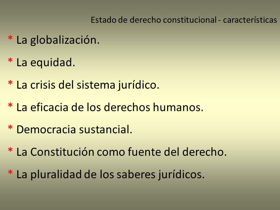 Estado de derecho constitucional - características * La globalización. * La equidad. * La crisis del sistema jurídico. * La eficacia de los derechos h