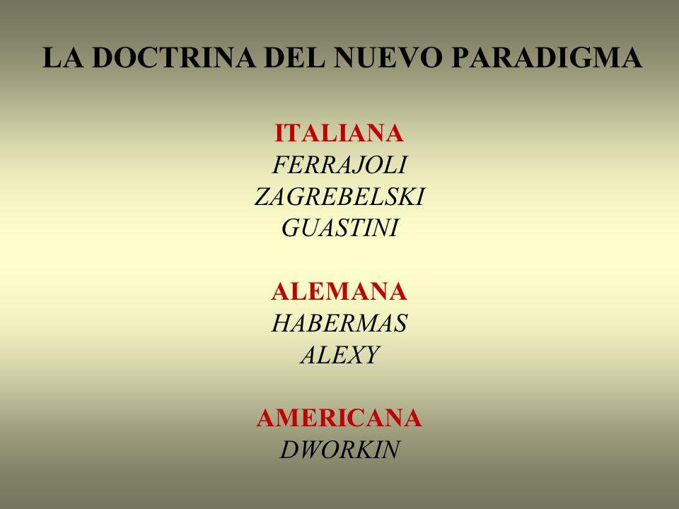LA DOCTRINA DEL NUEVO PARADIGMA ITALIANA FERRAJOLI ZAGREBELSKI GUASTINI ALEMANA HABERMAS ALEXY AMERICANA DWORKIN