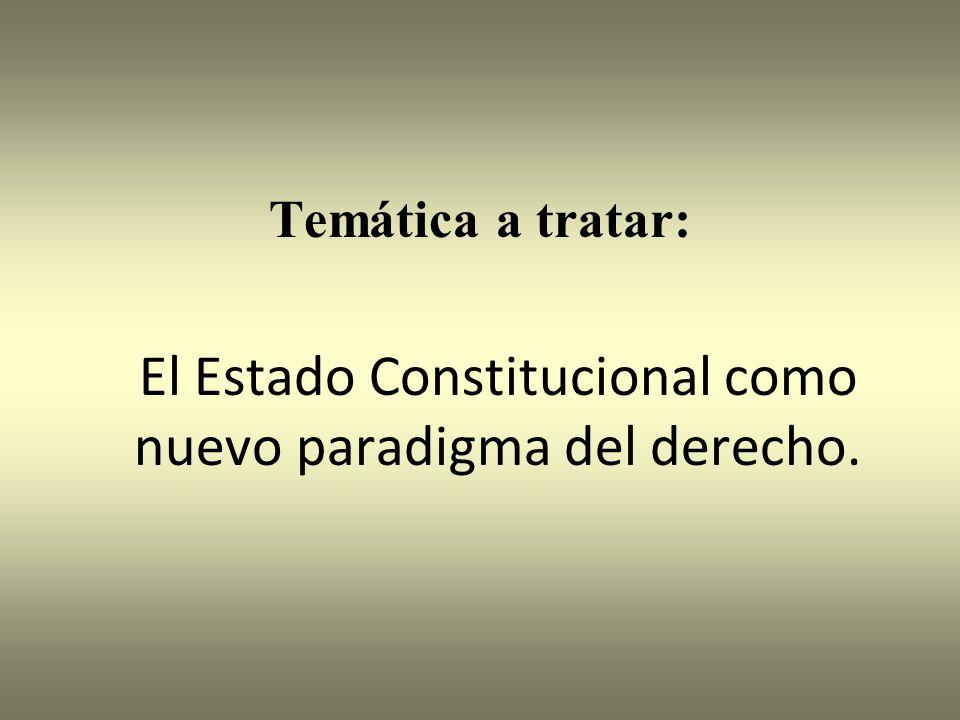 Temática a tratar: El Estado Constitucional como nuevo paradigma del derecho.