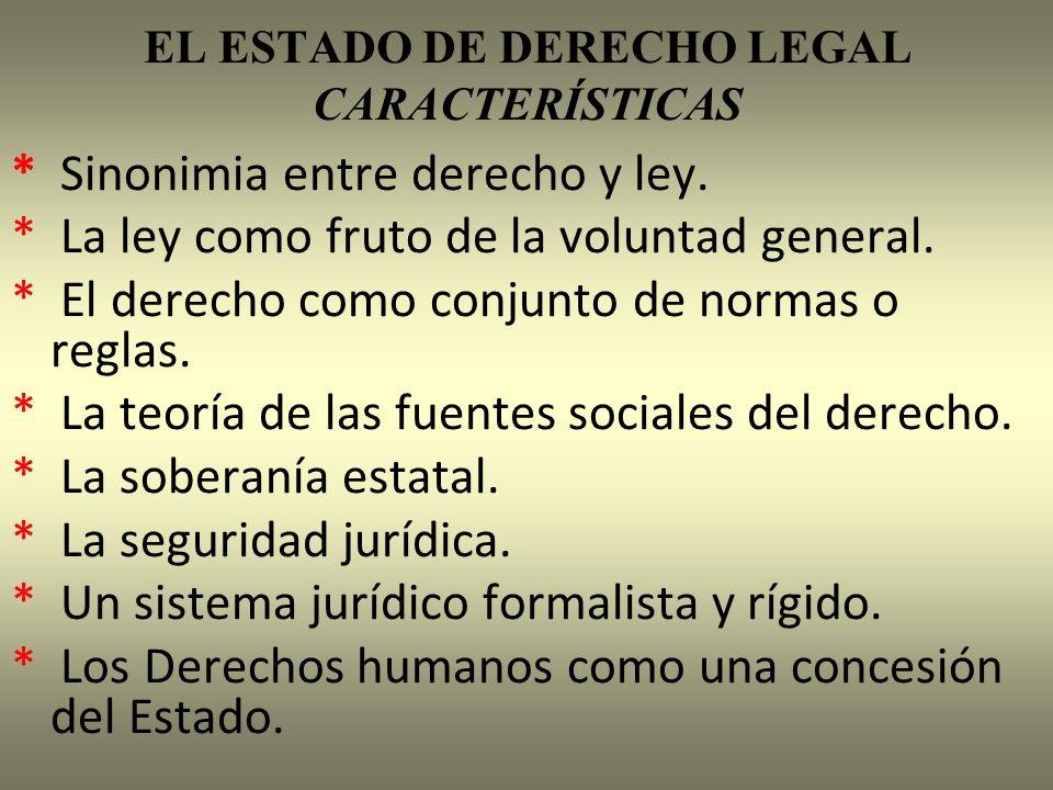 EL ESTADO DE DERECHO LEGAL CARACTERÍSTICAS * Sinonimia entre derecho y ley. * La ley como fruto de la voluntad general. * El derecho como conjunto de