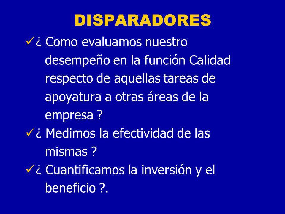 DISPARADORES ¿ En base a qué, la Dirección decide las inversiones y los presupuestos para el departamento (función) Calidad ?
