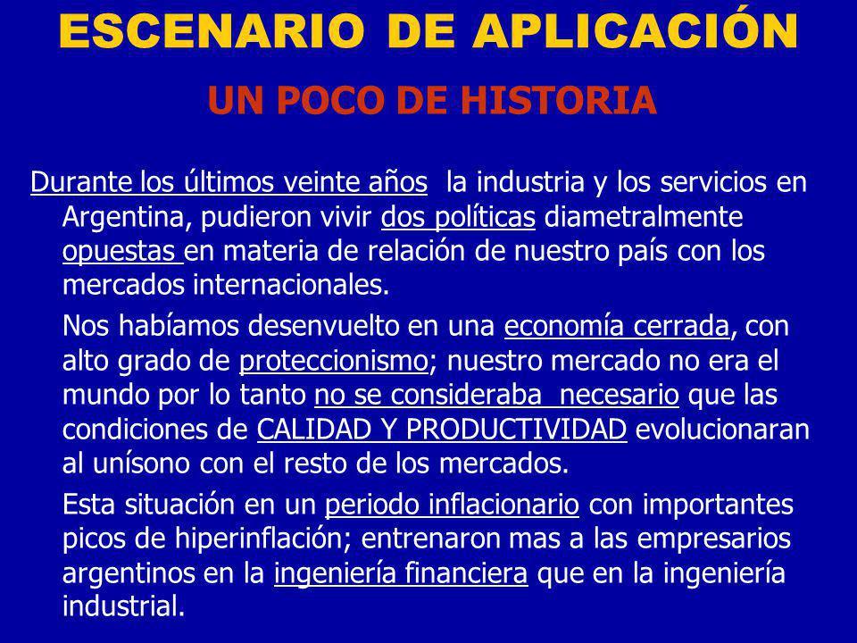 ESCENARIO DE APLICACIÓN UN POCO DE HISTORIA Durante los últimos veinte años la industria y los servicios en Argentina, pudieron vivir dos políticas diametralmente opuestas en materia de relación de nuestro país con los mercados internacionales.
