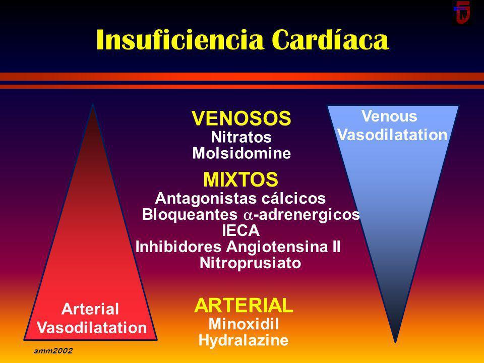 smm2002 Indicaciones Insuficiencia cardíaca clínica - Todos los pacientes Disfunción ventricular asintomática - FEVI < 35 % Hipertensión arterial Paci