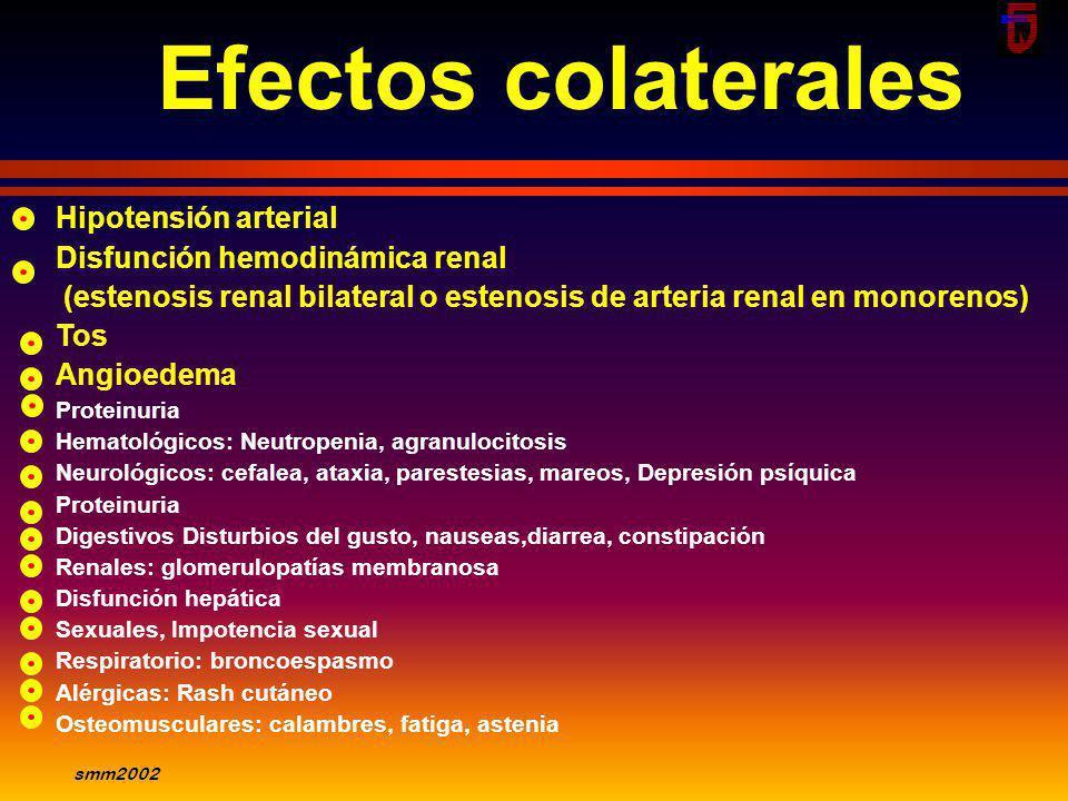 smm2002 IECA Mortalidad 4 SAVE N Engl J Med 1992;327:669 Years 30 20 10 0 12 3 Placebo Captopril 0 n=1115 n=1116 p=0.019 ² -19% n = 2231 3 - 16 days p