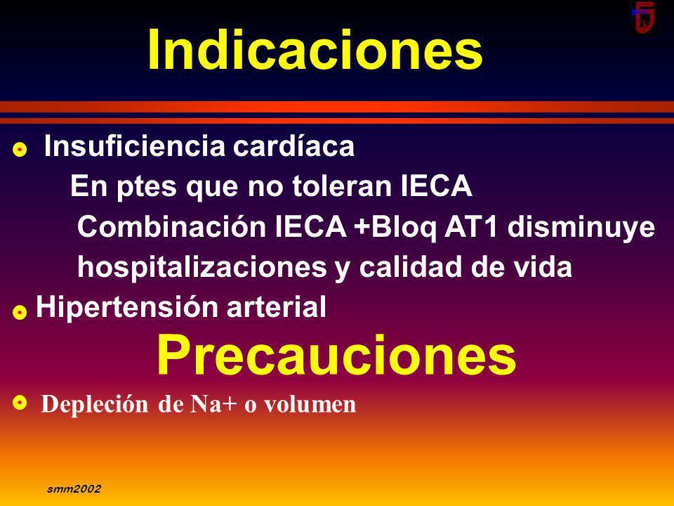 smm2002 Losartán: Absorción oral, biodisponibilidad 65% - No modificación con alimentos - Vida media 2hs, persisten 8-12hs - Eliminación renal 40% act