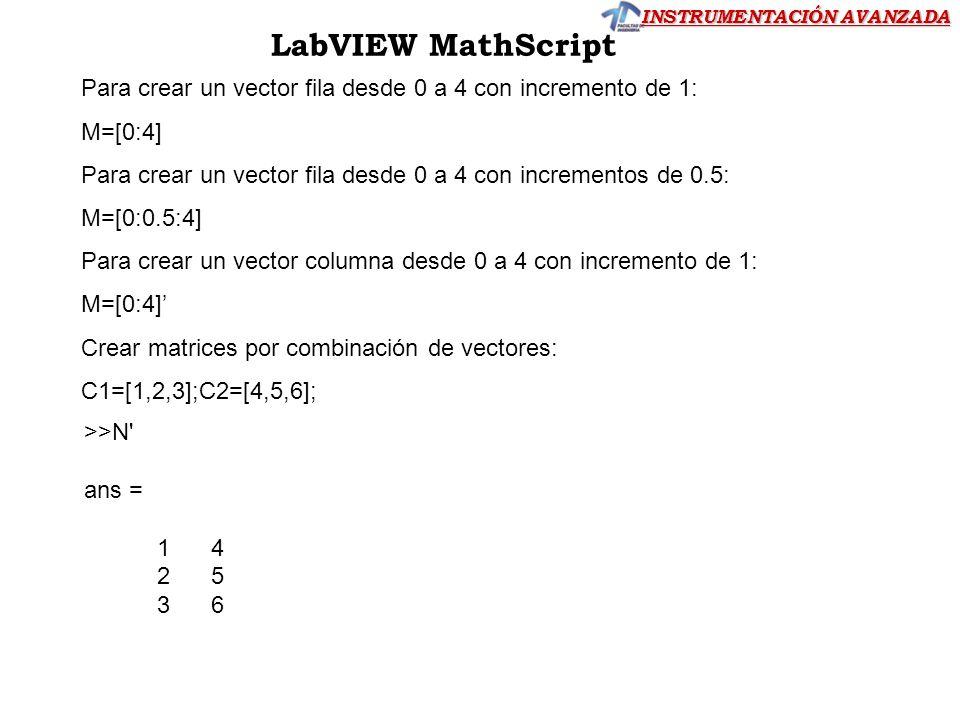 INSTRUMENTACIÓN AVANZADA LabVIEW MathScript Para crear un vector fila desde 0 a 4 con incremento de 1: M=[0:4] Para crear un vector fila desde 0 a 4 c