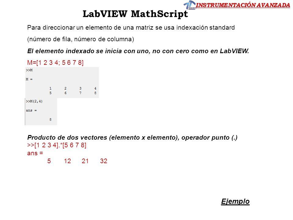 INSTRUMENTACIÓN AVANZADA LabVIEW MathScript Para direccionar un elemento de una matriz se usa indexación standard (número de fila, número de columna)