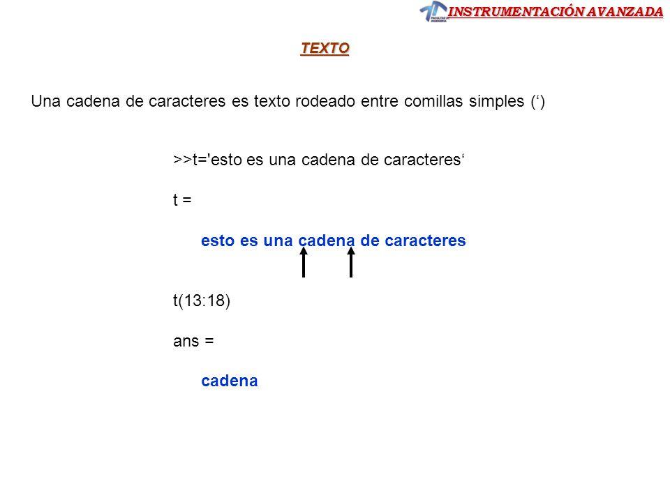 INSTRUMENTACIÓN AVANZADA TEXTO Una cadena de caracteres es texto rodeado entre comillas simples () >>t='esto es una cadena de caracteres t = esto es u