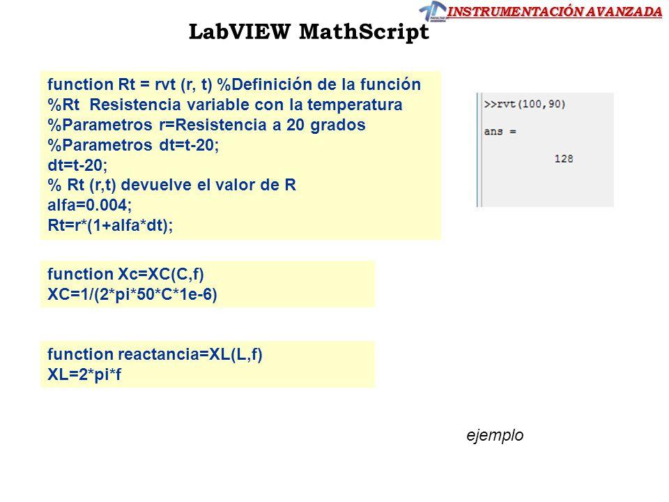 LabVIEW MathScript function Rt = rvt (r, t) %Definición de la función %Rt Resistencia variable con la temperatura %Parametros r=Resistencia a 20 grado