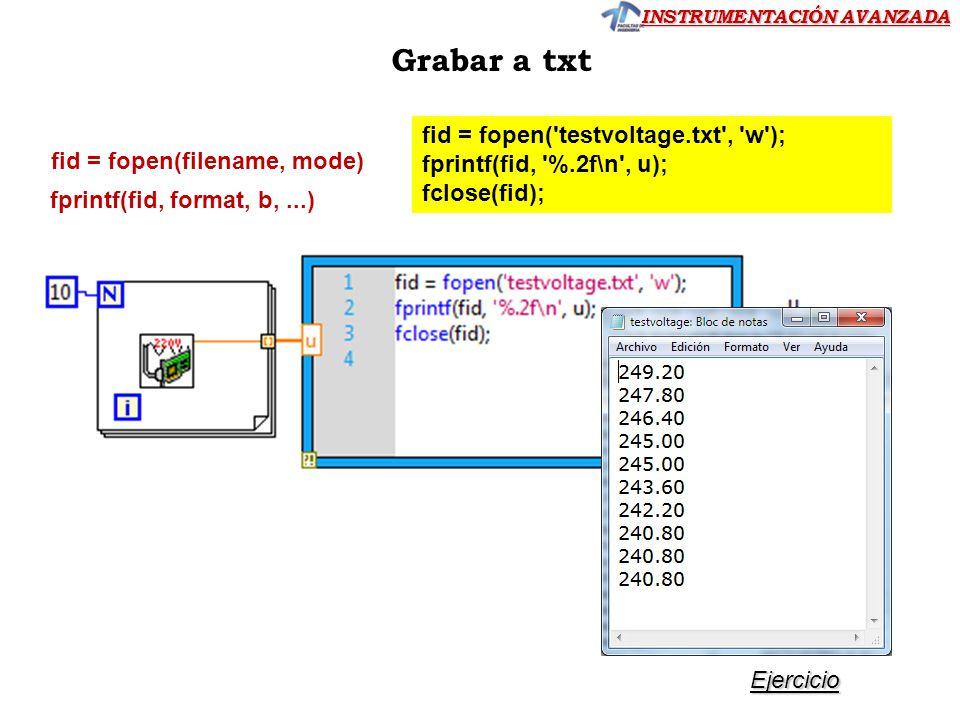 INSTRUMENTACIÓN AVANZADA fid = fopen('testvoltage.txt', 'w'); fprintf(fid, '%.2f\n', u); fclose(fid); fid = fopen(filename, mode) fprintf(fid, format,