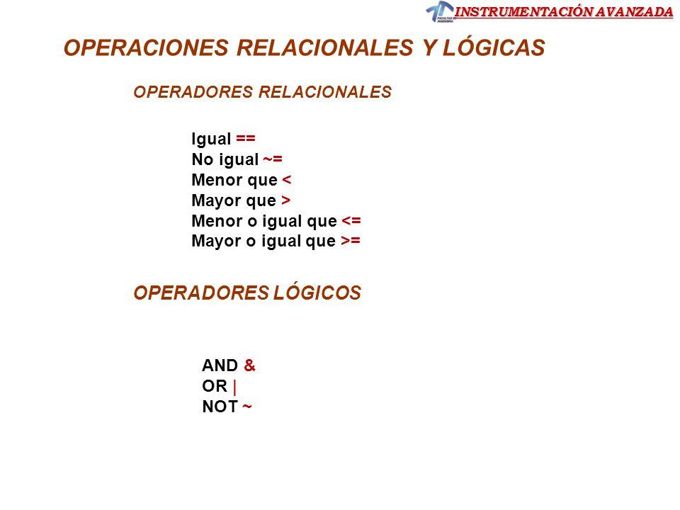 OPERACIONES RELACIONALES Y LÓGICAS OPERADORES RELACIONALES OPERADORES LÓGICOS Igual == No igual ~= Menor que < Mayor que > Menor o igual que <= Mayor
