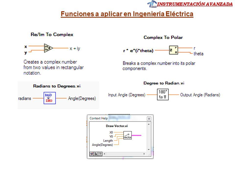 INSTRUMENTACIÓN AVANZADA Funciones a aplicar en Ingeniería Eléctrica