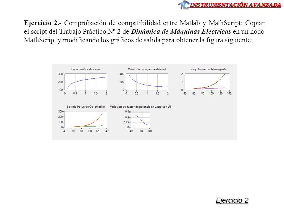 INSTRUMENTACIÓN AVANZADA Ejercicio 2.- Comprobación de compatibilidad entre Matlab y MathScript: Copiar el script del Trabajo Práctico Nº 2 de Dinámic